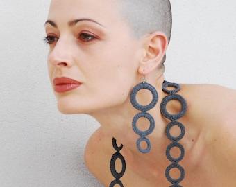 Fashion crochet earrings / Grey earrings / Long Dangle Earrings / Hoop eaarings/ Modern earrings / Crochet jewelry / Gift for her under 25