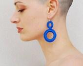 Crochet earrings, fiber earrings, geometric earrings, Simple earrings, Hoop earrings, Blue cobalt , crochet jewelry, everyday