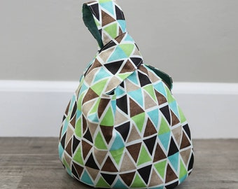 Japanese Knot Bag, Reversible, Project Bag, triangles, brown, aqua, teal, white, geometric
