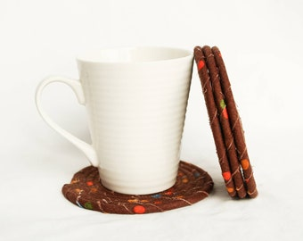 Clothesline Coasters, Coasters, Coiled Coasters, Scrappy Coasters,  Fabric coasters, Set of 4, brown, polka dots