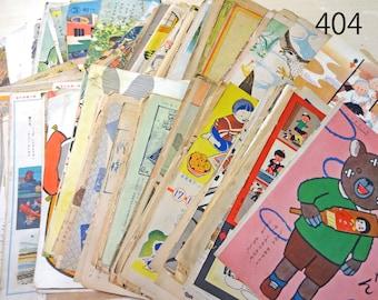 21 pages 1920 - 50s Vintage Japanese Children's Magazines Paper Ephemera Scrap Assorted Book pages P404