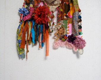 SALE - Patchwork Bohemian Gypsy Ethnic Silk Cotton Multi Color Scarf