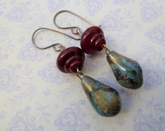 lampwork glass, ceramic and copper earrings, red and blue handmade jewellery