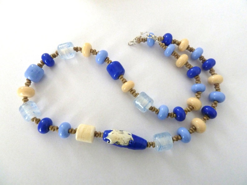blue and ivory beach lampwork glass bead necklace UK jewellery handmade