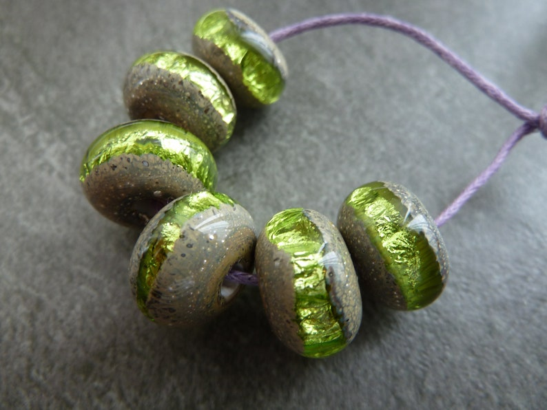 uk handmade green sparkly wrapped set lampwork glass beads