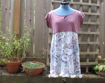 Funky Sweet Floral Baby Doll Dress/ Eco Upcycled Cottage Chic Floral Dress M