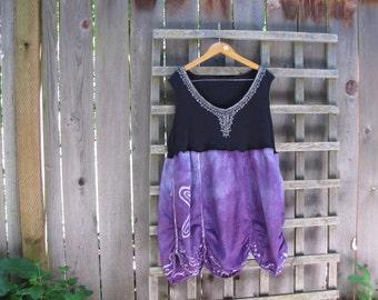 Upcycled Purple Batik Plus Size Lagenlook Tunic Shirt Dress/ Funky Asymmetrical Eco Tank Dress/Ruched Petal Hemline Womens Tops XL XXL