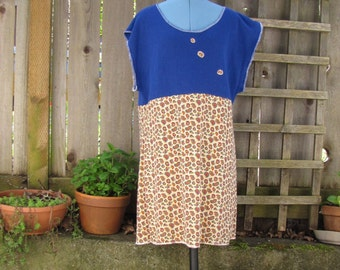 Funky Upcycled Blue Paisley Tunic Dress/ Short Sleeve Eco Dress Womens Clothing M/L