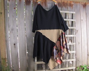 Floral Asymmetrical Boho Lagenlook Sweater Knit Tunic Dress/ Upcycled Funky Black Tan Eco Dress Wool Blend/Womens Sweater Dress L/XL 1X