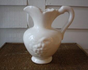 white pitcher, vintage white pitcher, farmhouse decor, old white pitcher
