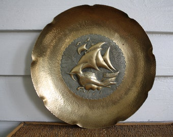 Vintage brass platter, Asian, nautical, Hollywood Regency, hammered brass