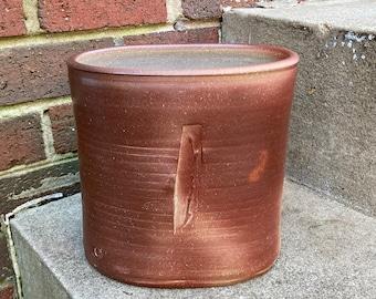 Flattened Wood Fired Vase | Wheel Thrown, Stoneware