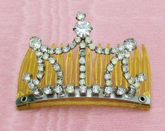 Vintage rhinestone hair comb, small decorative hair comb