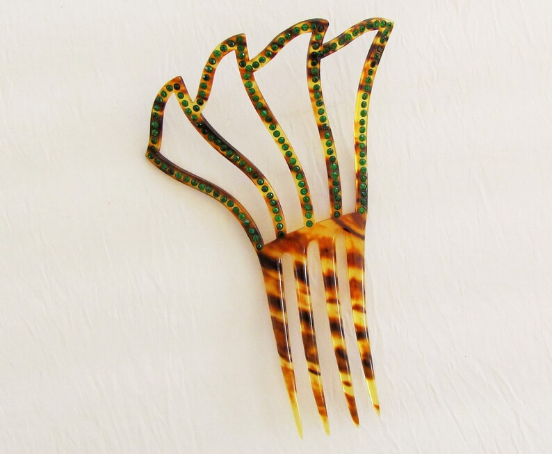 1920/'s faux tortoiseshell decorative comb set with green rhinestones Vintage celluloid hair comb