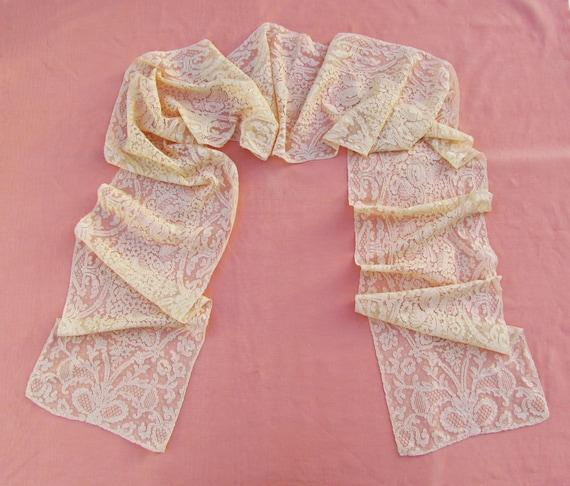 Vintage Alencon lace scarf, c.1930's extra long wo