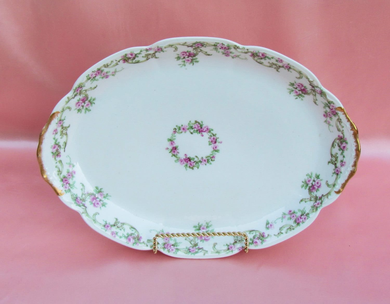 Limoges China Platter With Pink Roses Small Size Porcelain Etsy