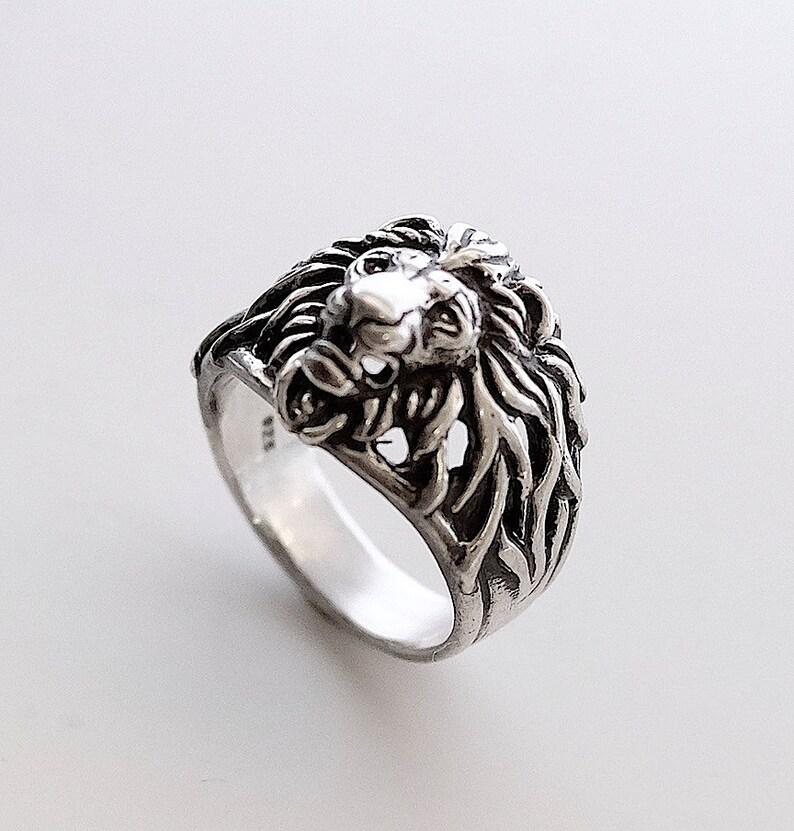 ece0d29e5de01 Lion head ring, Lion ring for man, Animals ring, Bikers ring, Silver ring  for man, Lion ring, Jangle ring.
