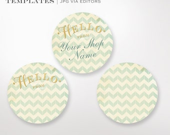 """Gold Chevron Stickers - 2"""" Round Label Templates Silhouette Cut or Avery Sticker Stock - Sticker Envelope Seals Labels Gilded Stickers"""