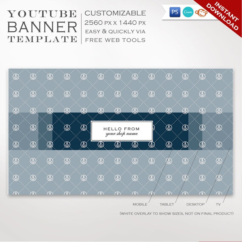 Youtube Banner Template Nautical Youtube Channel Art Template Diy Youtube Channel Art Youtube Profile Header Image Smyt Aac