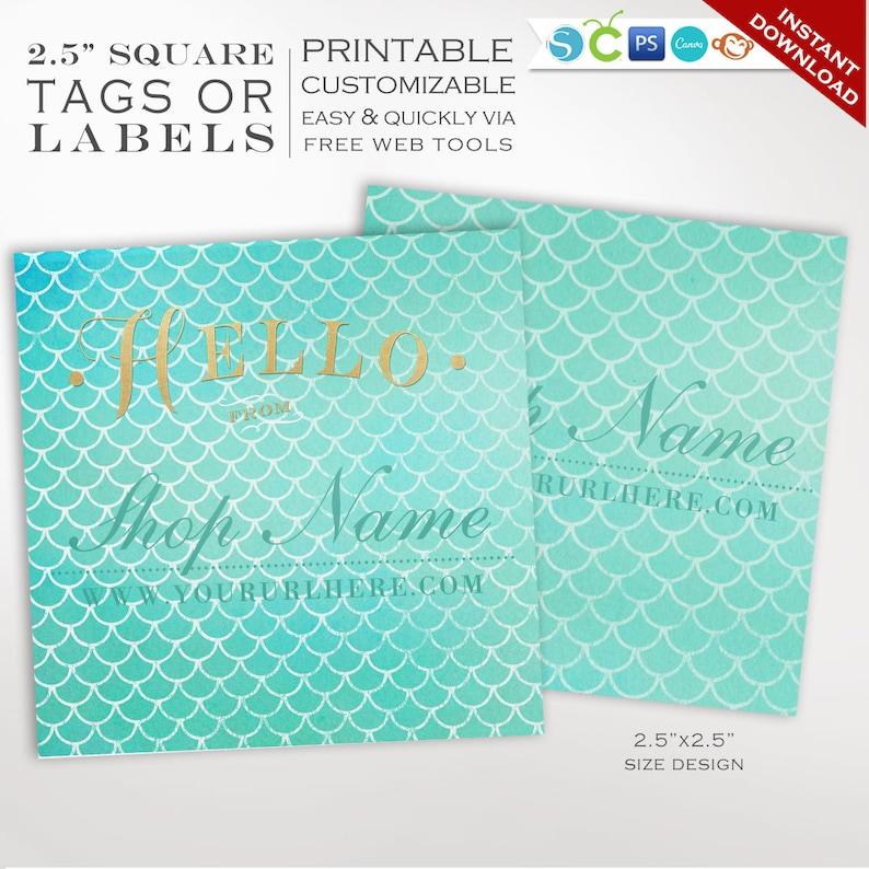 Product Hang Tag Templates  Mermaid Printable Label Templates image 0