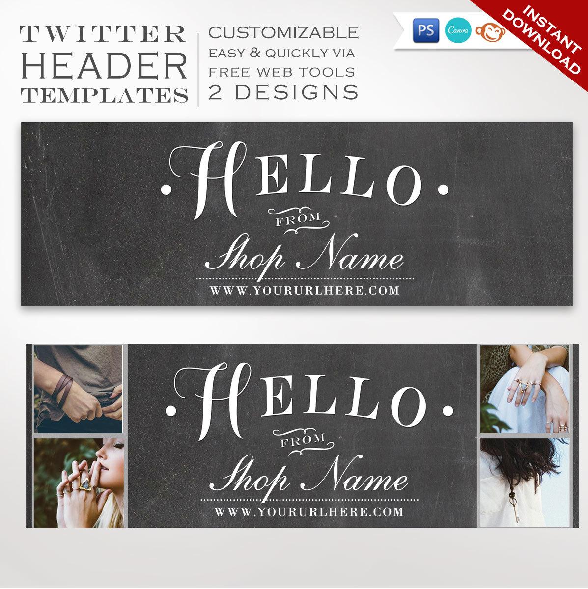 Twitter Header Template Diy Chalkboard Twitter Cover Photo Etsy