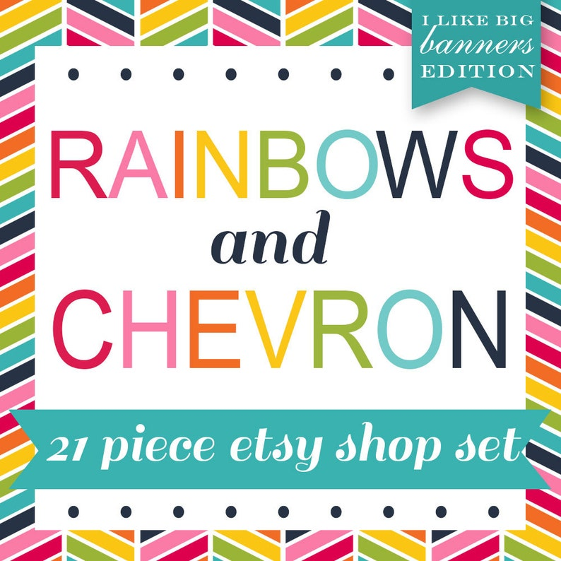 Etsy Banner Cover Set  20 Piece Rainbow Chevron DIY Template image 0