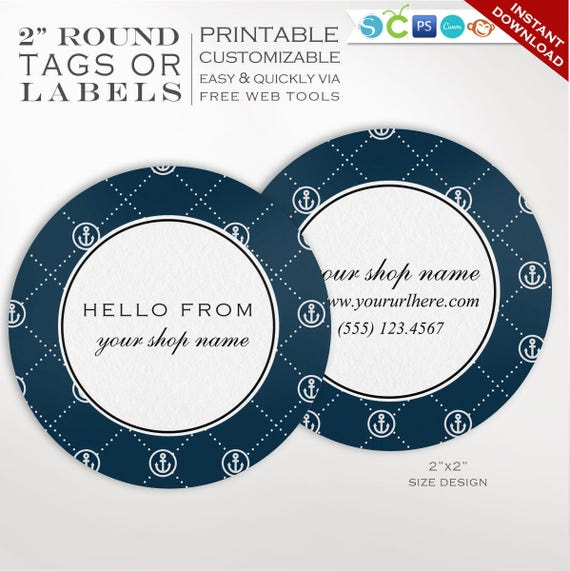 round label template 2 inch circular nautical label template etsy