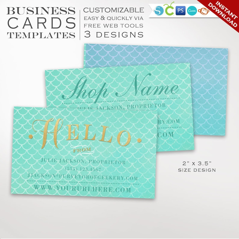 Business Card Template  Mermaid Business Card Design Template image 0