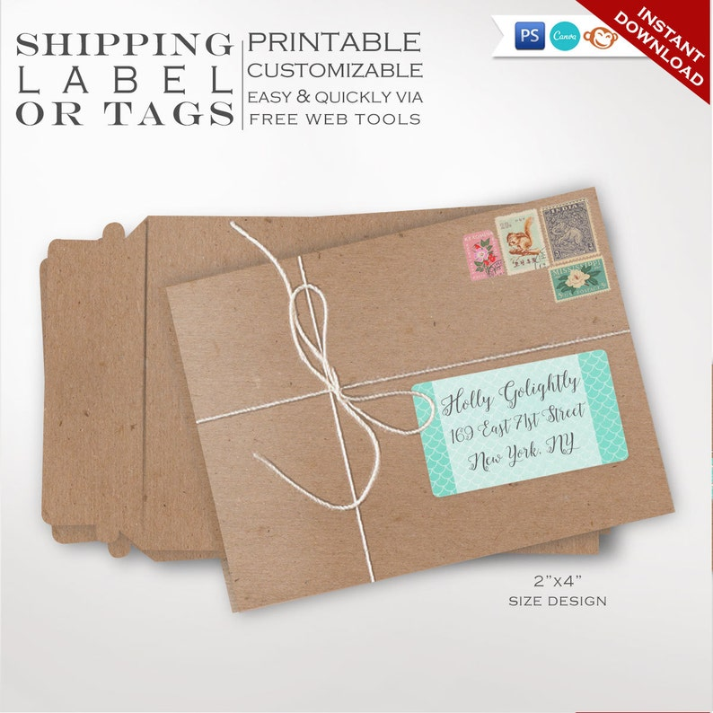 Shipping Labels  Mermaid Printable Mailing Label Templates  image 0
