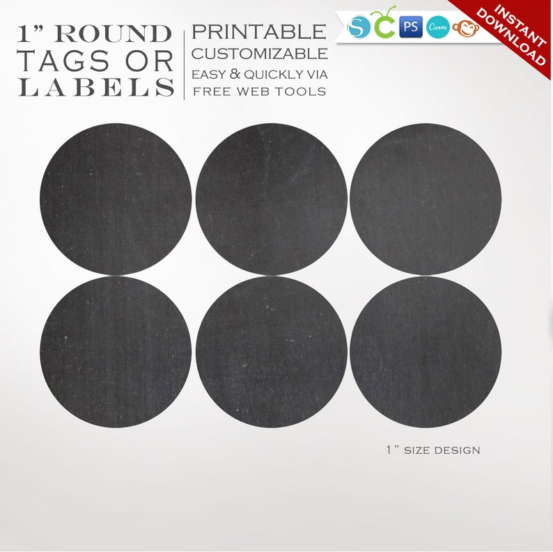 graphic regarding Chalkboard Labels Printable called Spherical Sticker Labels - 1 Inch Spherical Chalkboard Label Template Package - Labels Printable Envelope Seals Avery Silhouette Cricut LB1R AAA