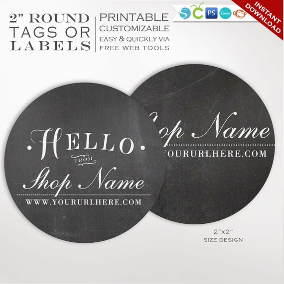 Round Label Template 2 Inch Circular Chalkboard Label Etsy