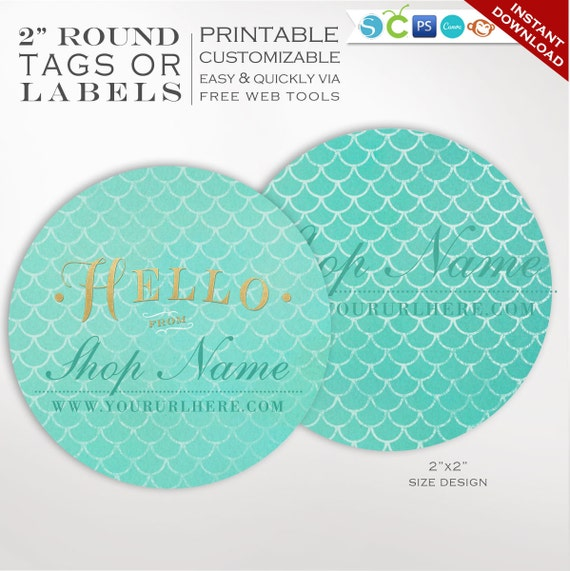 round label template 2 inch circular mermaid scales label etsy