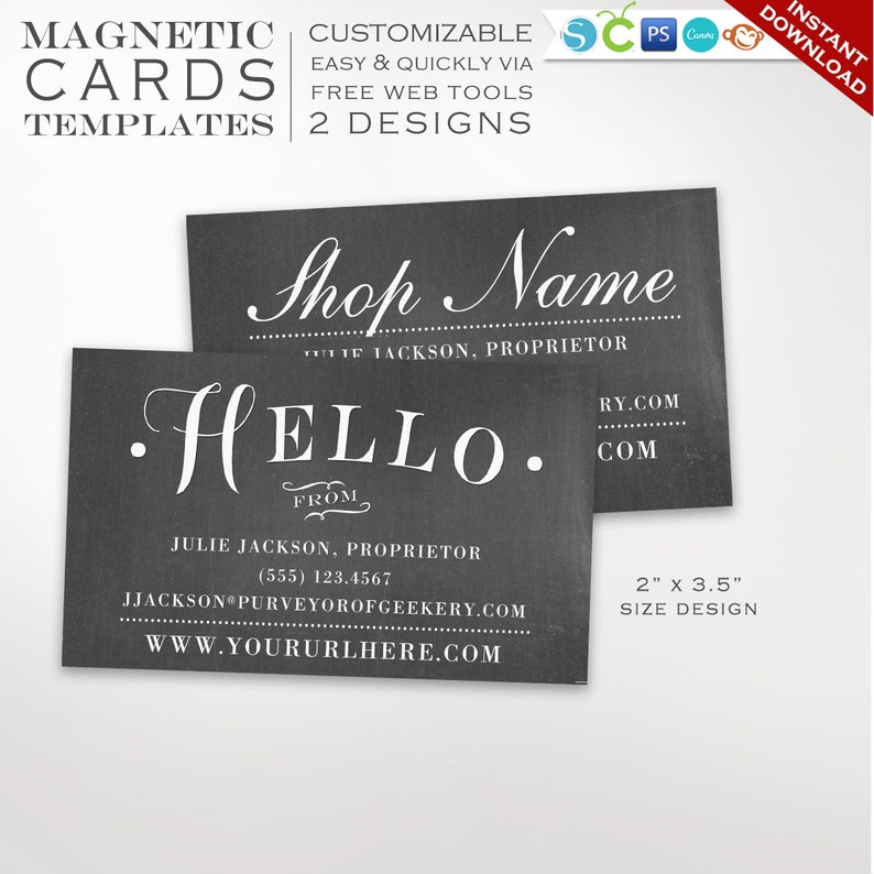 graphic about Printable Magnet identified as Chalkboard Magnet Template - Printable Magnet Style Template - Do it yourself Magnets Printable Business office Card Magnet Template Layout BCMG AAA