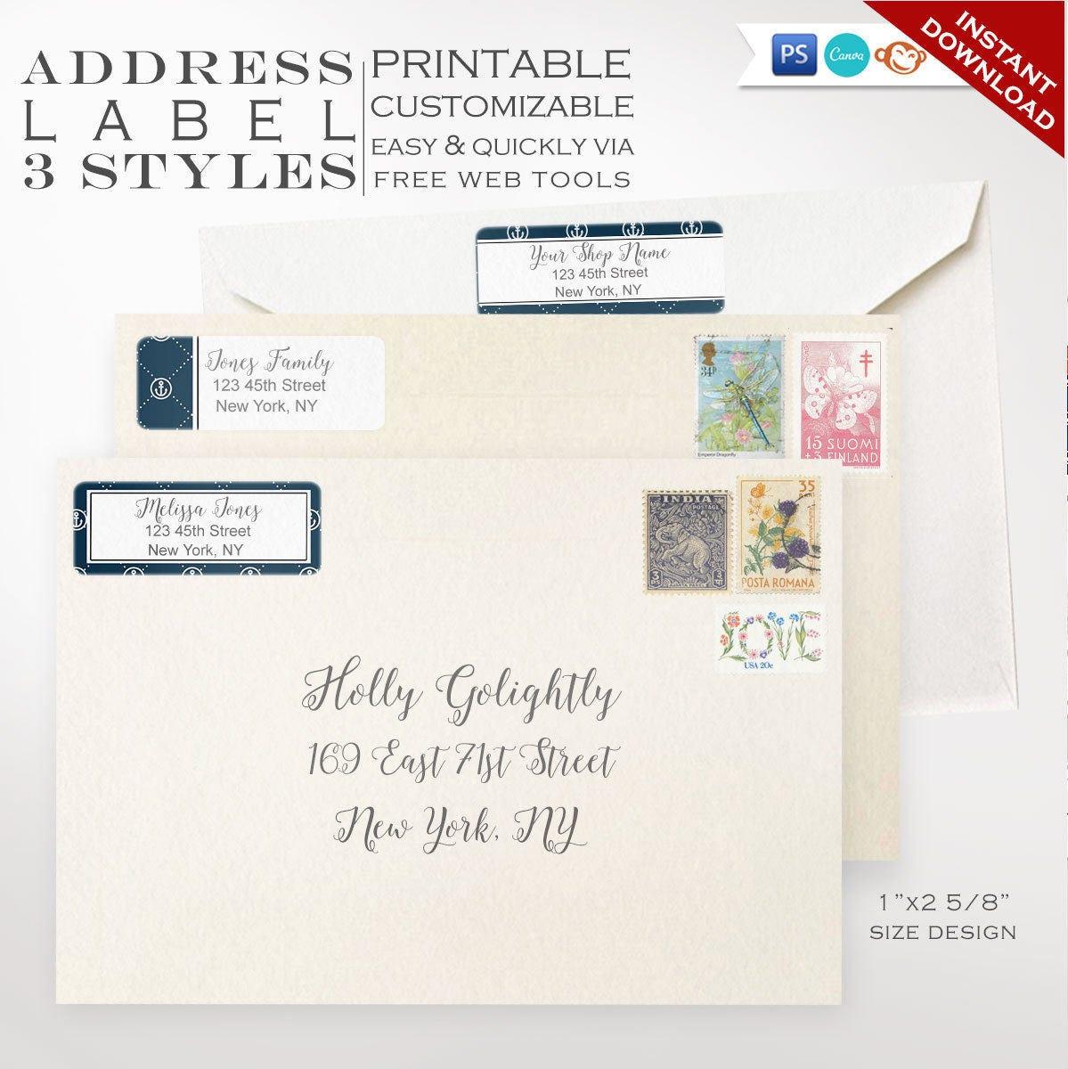 Address Labels Nautical Printable Return Address Label Etsy