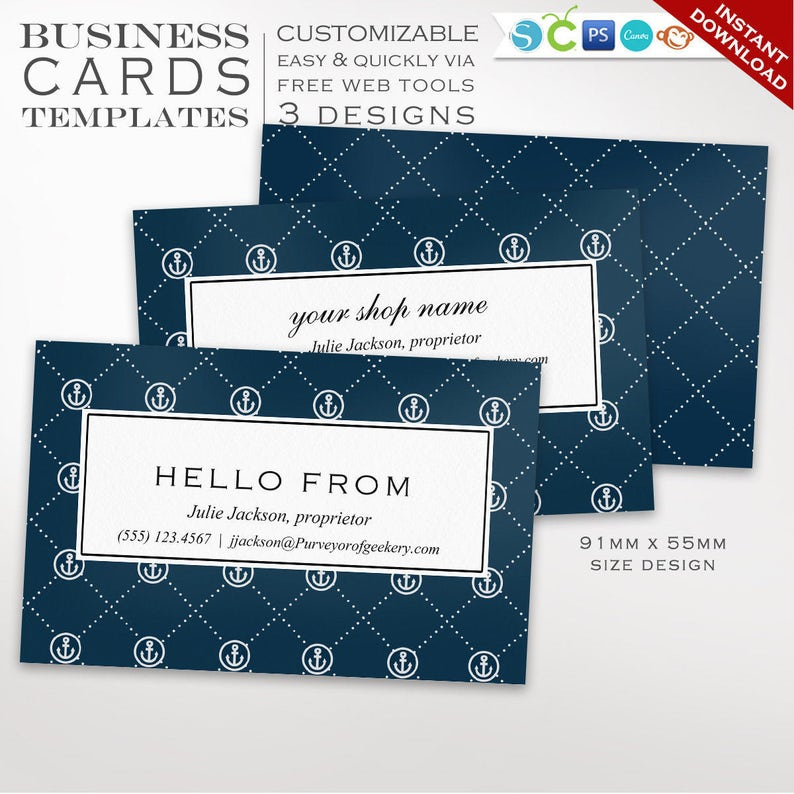 Nautical Business Card Template  Business Card Design image 0
