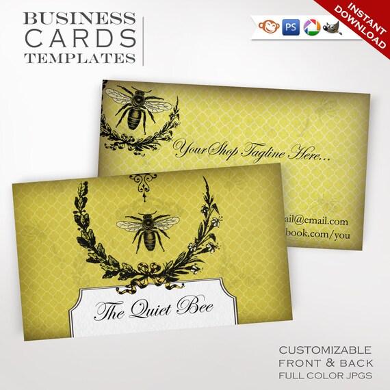 Bee apiary business cards customizable vintage honey design etsy image 0 colourmoves
