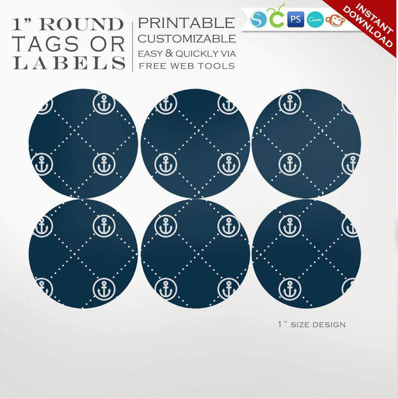 Round Sticker Labels  1 Inch Round Nautical Label Template image 0