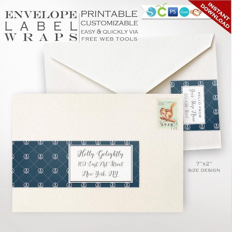 Envelope Wrap Labels  Nautical Printable Wrap Around Address image 0