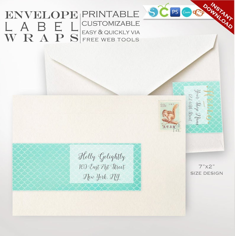Envelope Wrap Labels  Mermaid Printable Wrap Around Address image 0