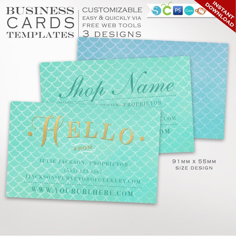 Mermaid Business Card Template  Business Card Design Template image 0