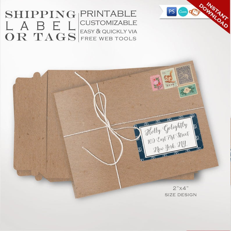 Shipping Labels  Nautical Printable Mailing Label Templates  image 0