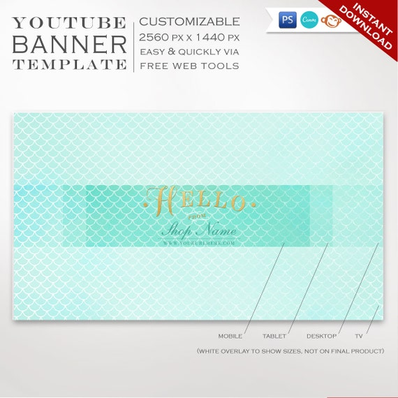 Youtube Banner Template Mermaid Youtube Channel Art Etsy