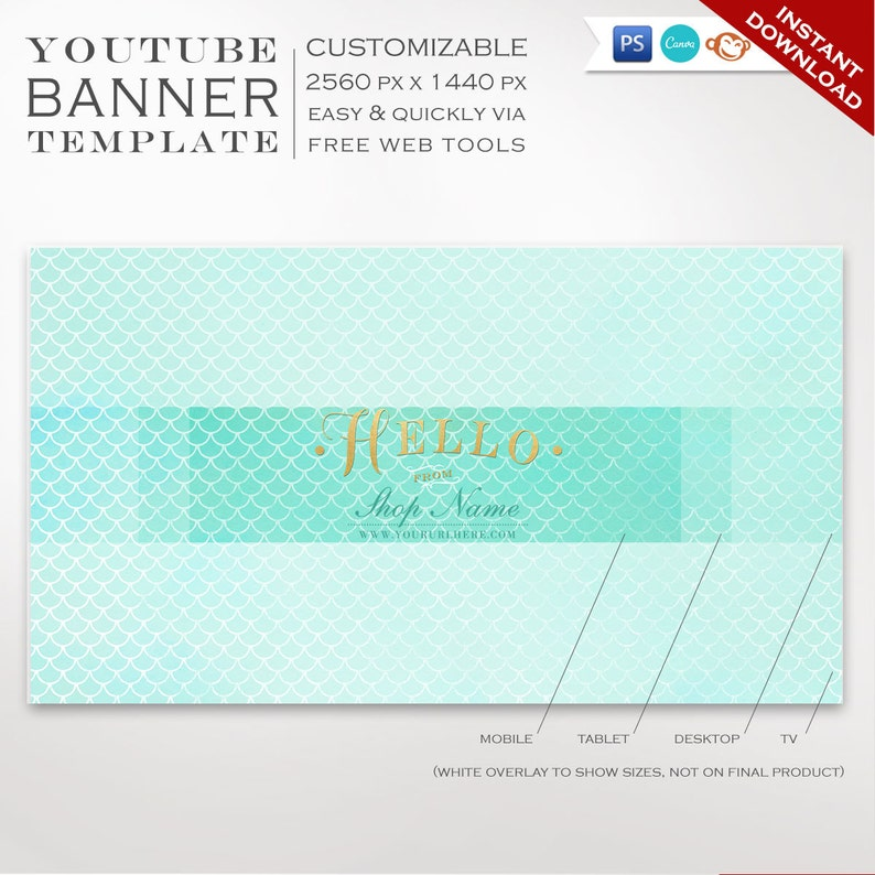 Youtube Banner Template   Mermaid Youtube Channel Art image 0