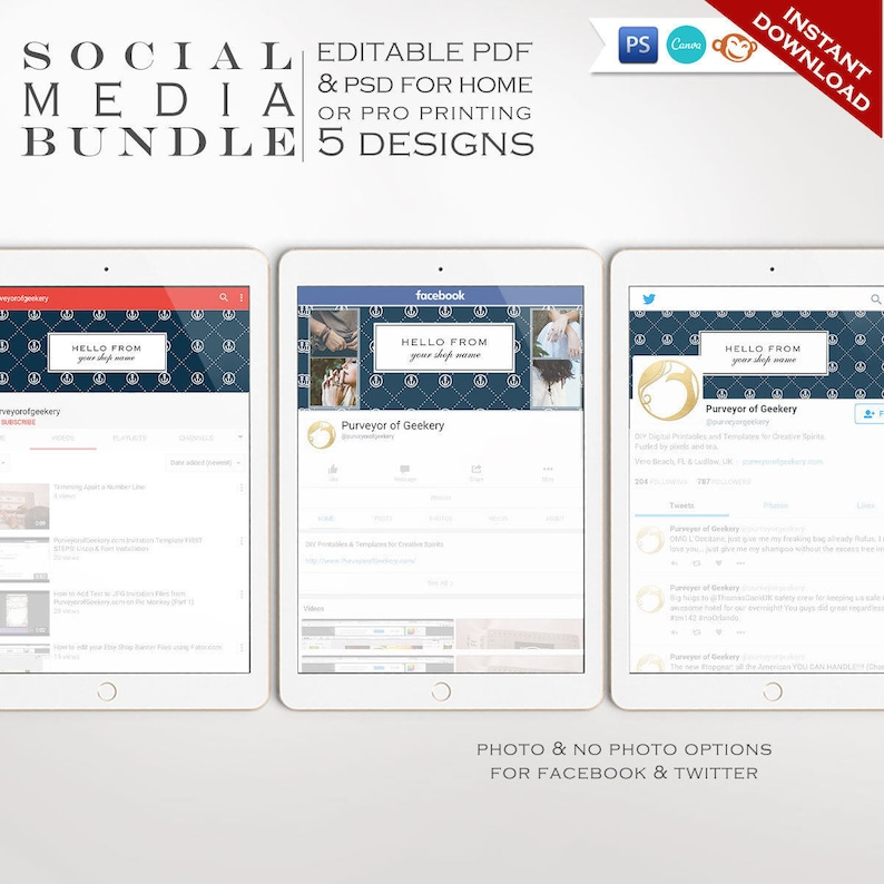 Social Media Template Kit  Nautical Facebook Cover Twitter image 0