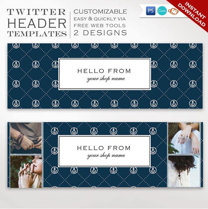 Twitter Header Template  DIY Nautical Twitter Cover Photo image 0