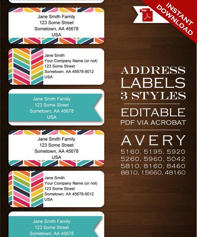 Chevron Address Labels Address Sticker Envelope Seals Rbc Etsy