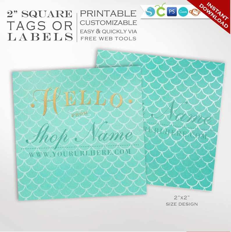 Label Template  Mermaid 2 Inch Printable Label Templates  image 0