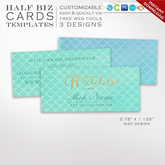 business card template mermaid scales mini business card etsy