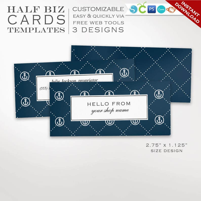 Business Card Template  Nautical Mini Business Card Design image 0