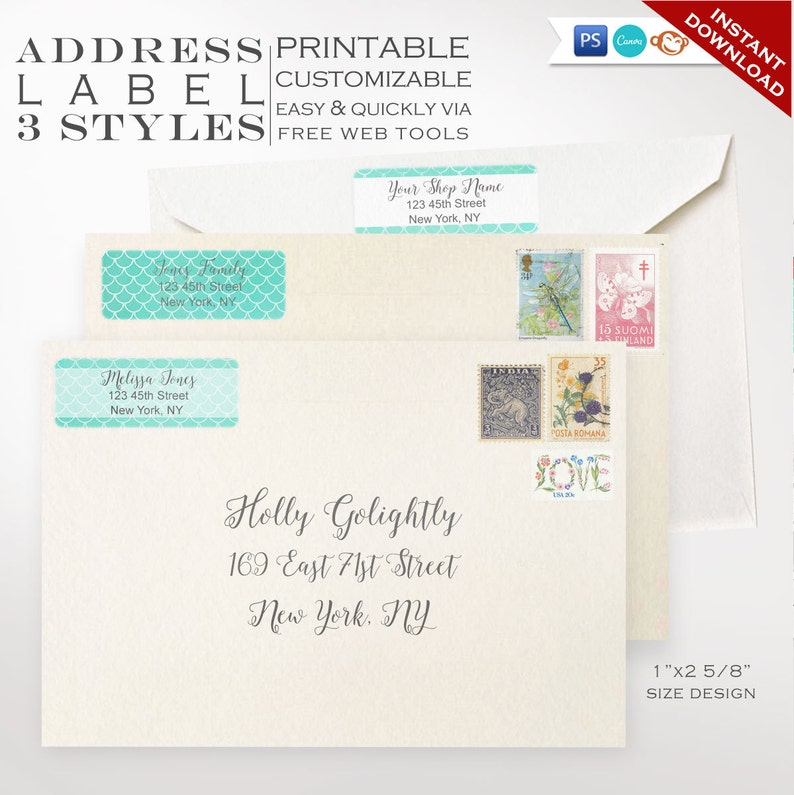 Address Labels  Mermaid Printable Return Address Label image 0